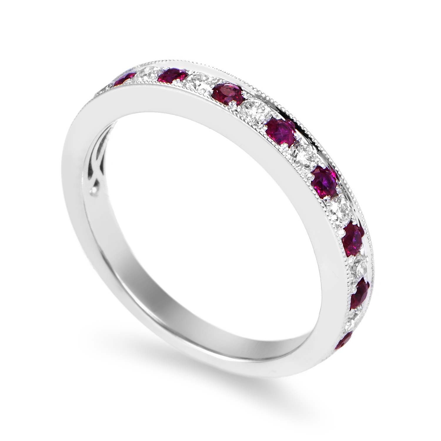 Women's 18K White Gold Diamond & Ruby Band Ring KOUR9BRBZRU