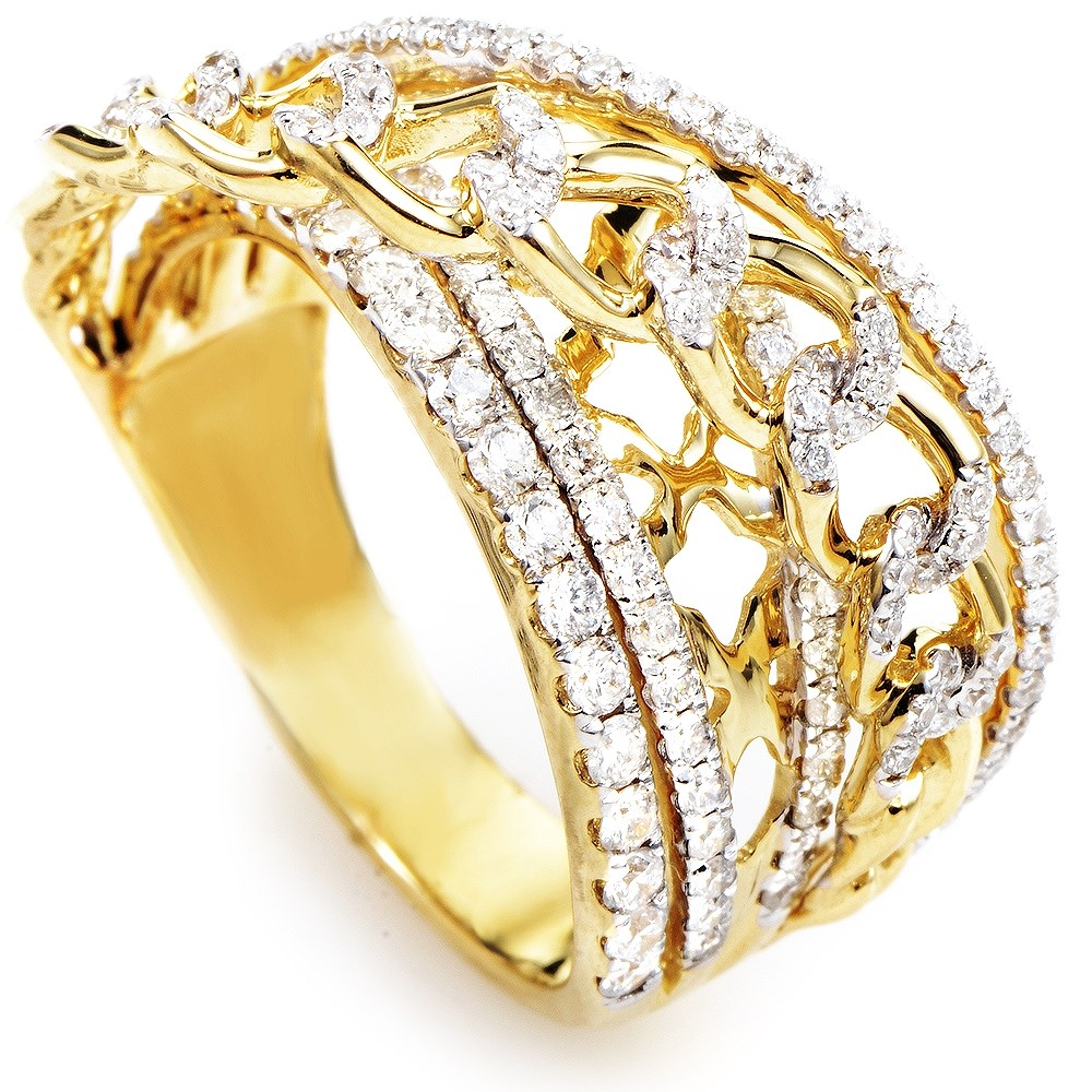 18K Yellow Gold Diamond Band Ring KOW32271RZZ