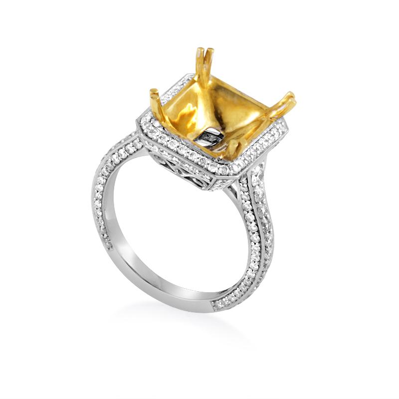 18K Multi-Gold Diamond Engagement Ring Mounting MR-306-V3