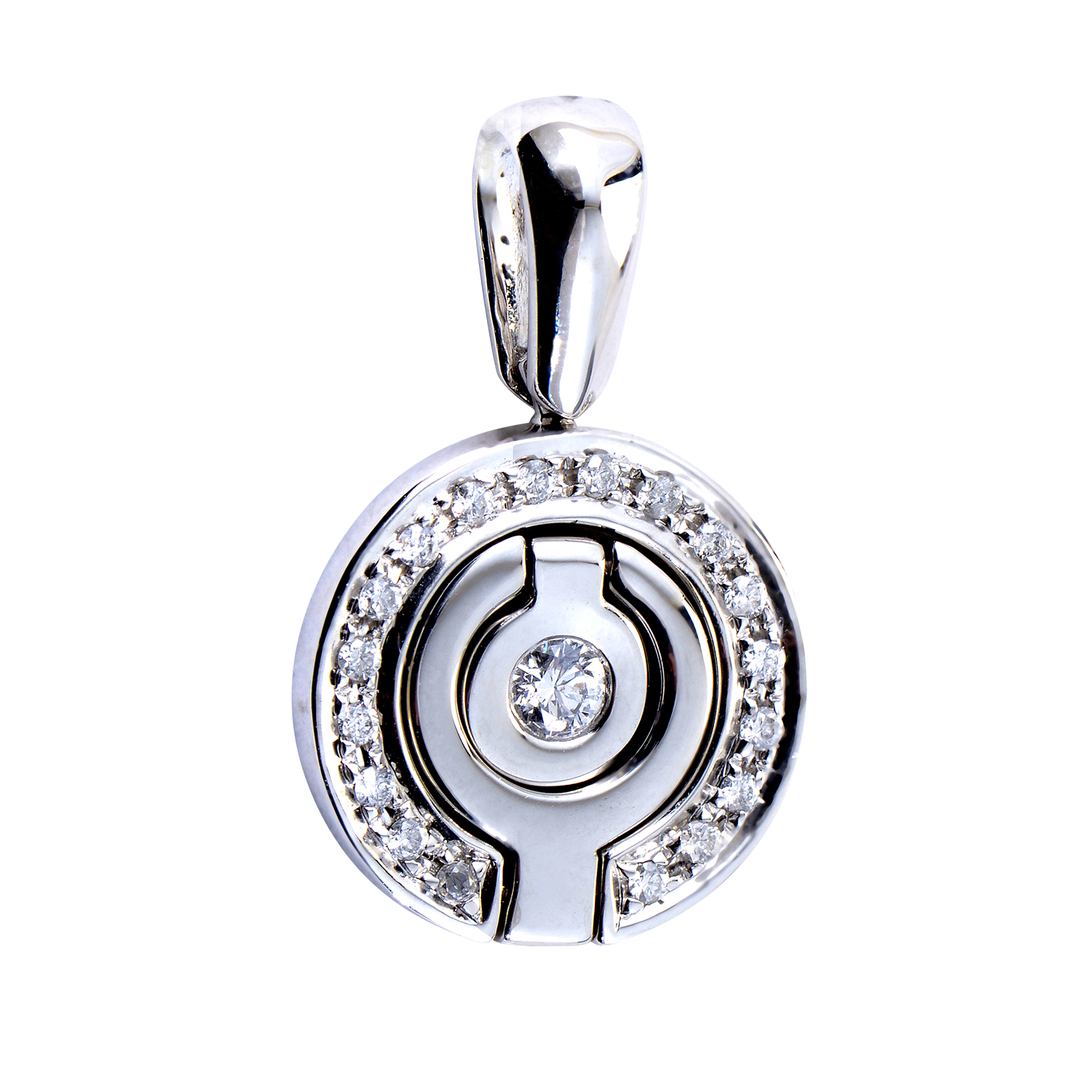 Women's Round 18K White Gold Diamond Pendant PA0694RBZ