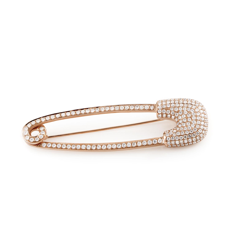 18K Rose Gold Diamond Pave Safey Pin