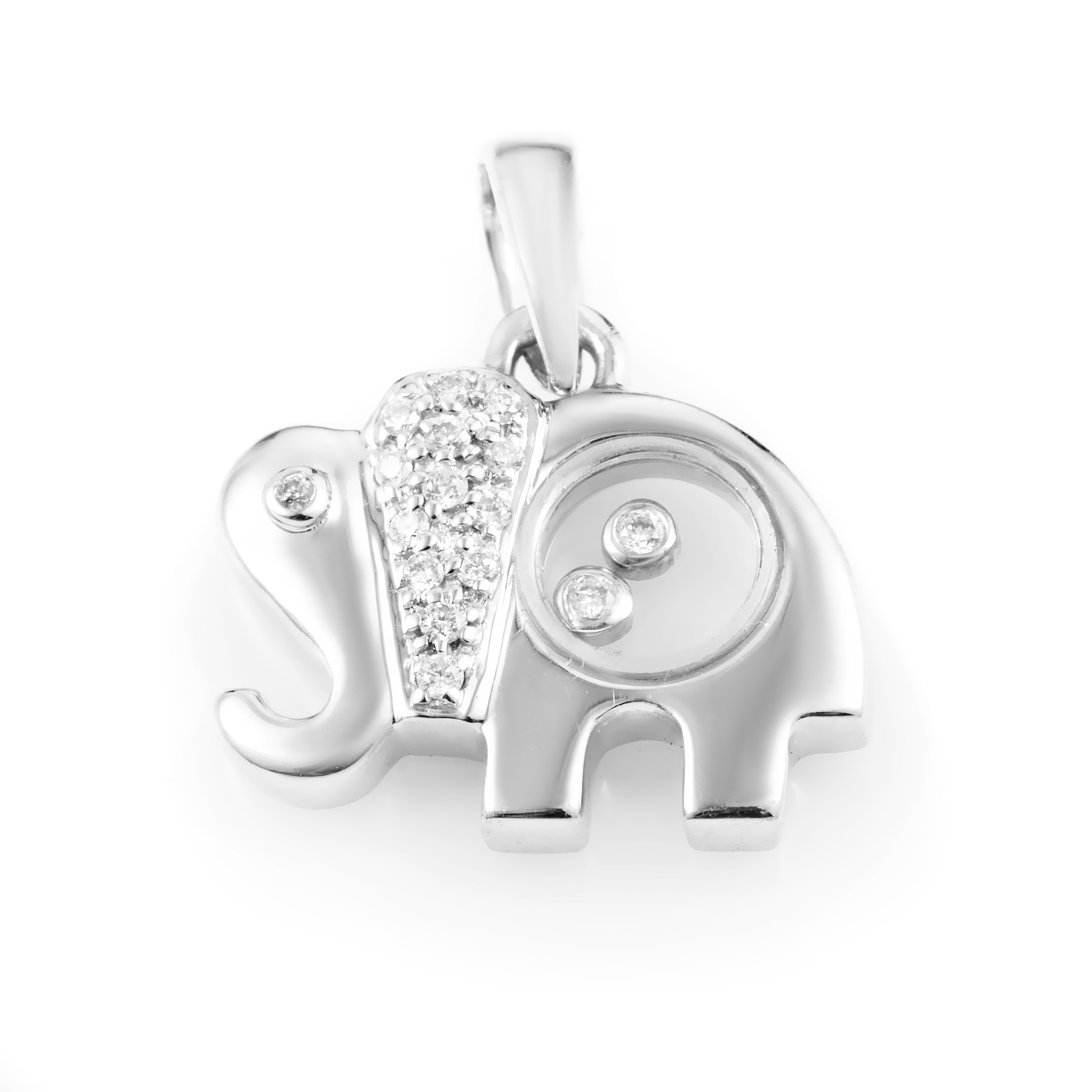 Women's 18K White Gold Diamond Elephant Pendant PA5123RBZ