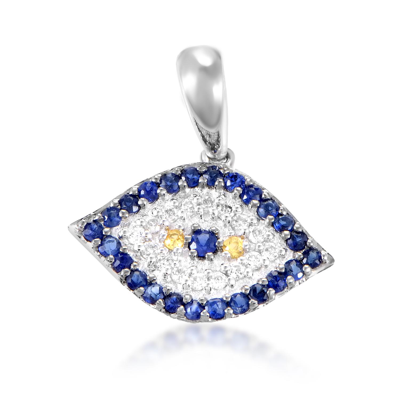 Women's 18K White Gold Diamond & Sapphire Evil Eye Pendant PA77611RBZSA