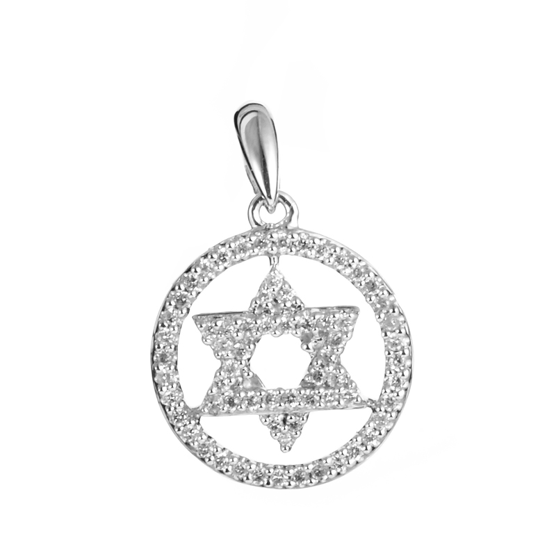 18K White Gold Diamond Pave Star of David Pendant PA833PGUBZ