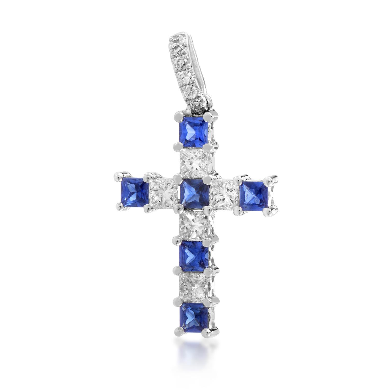 18K White Gold Diamond & Sapphire Cross Pendant PASB74801PBZSA