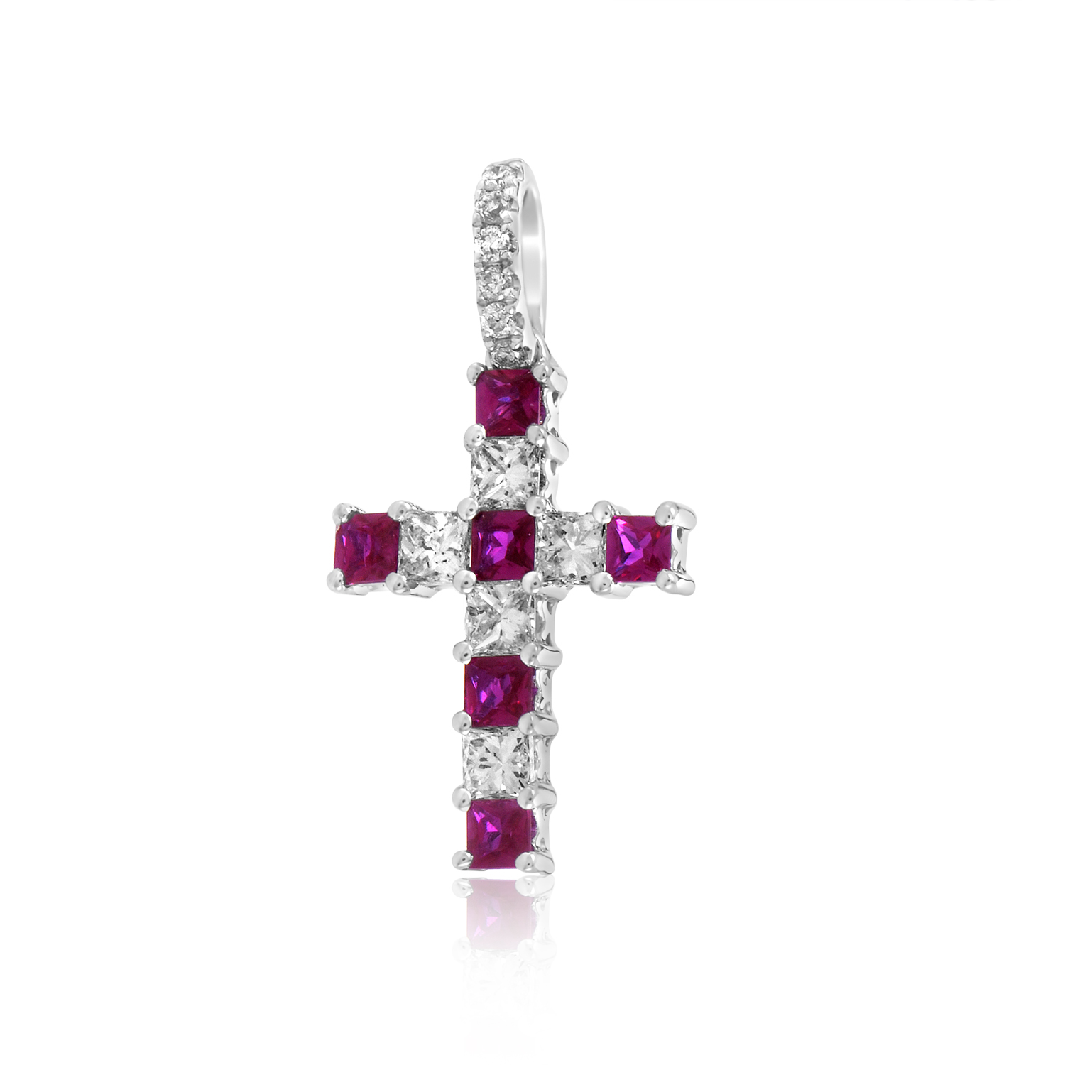 18K White Gold Diamond & Ruby Cross Pendant PAUR64801BZRU