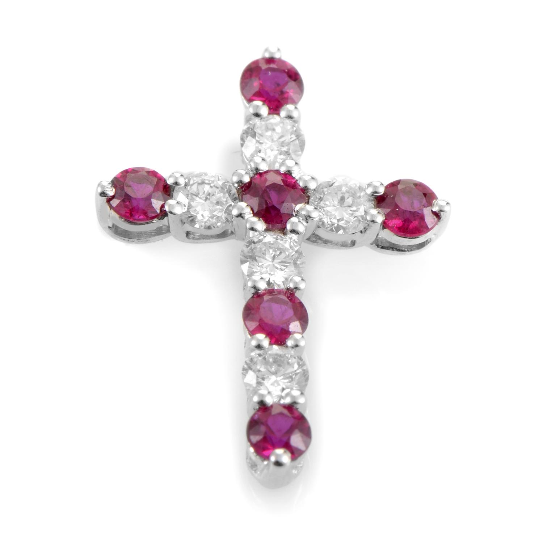 18K White Gold Diamond & Ruby Cross Pendant PAUR93801BZRU