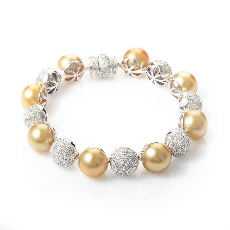 18K White Gold Yellow Pearl & Diamond Bracelet