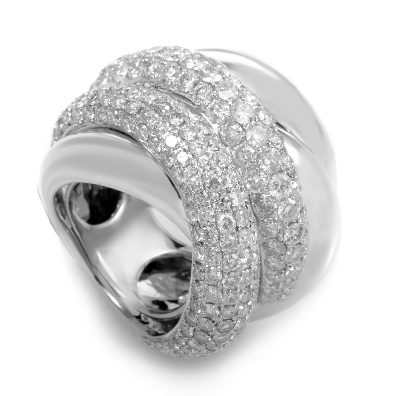 18K White Gold Overlapping Diamond Pave Band Ring R14455-2