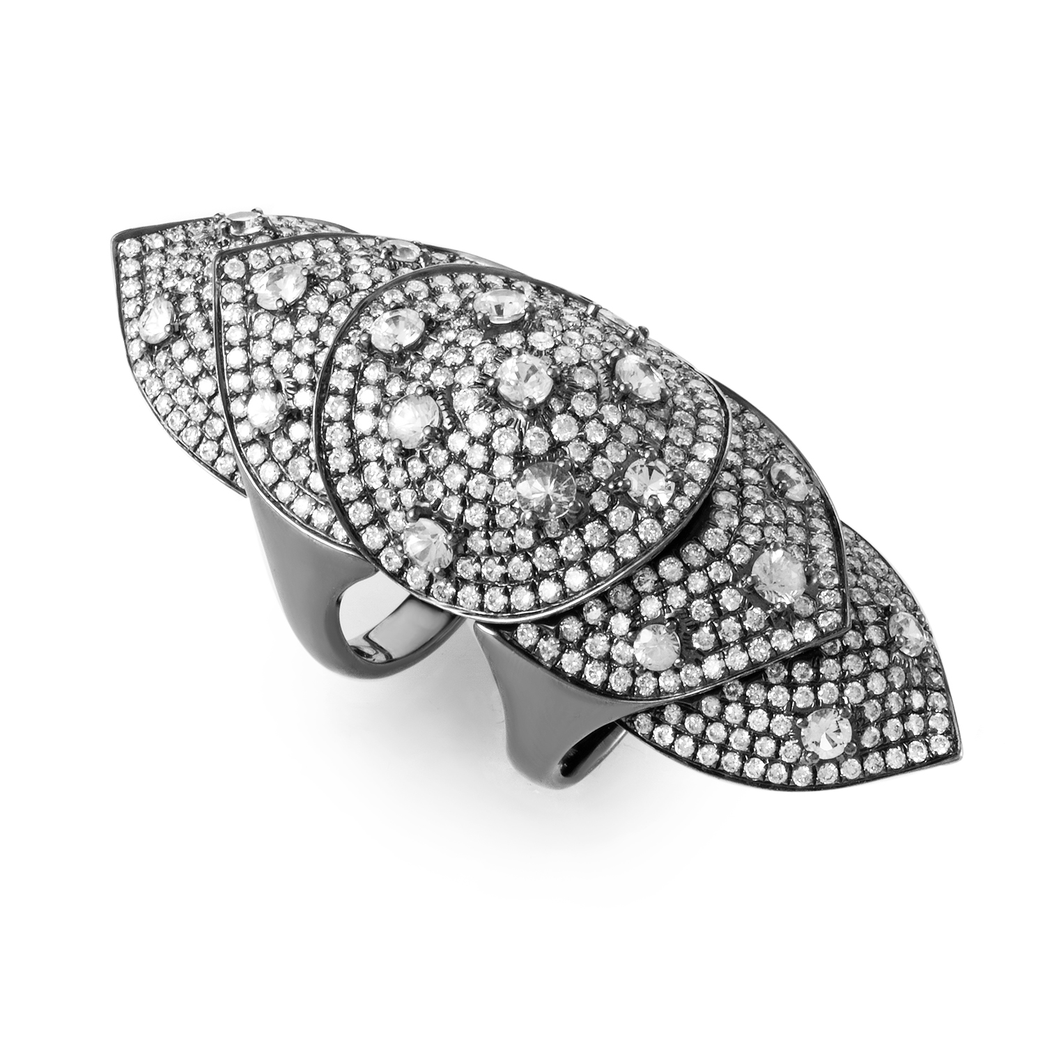 18K White Gold & Diamond Full-Finger Ring R14746-9