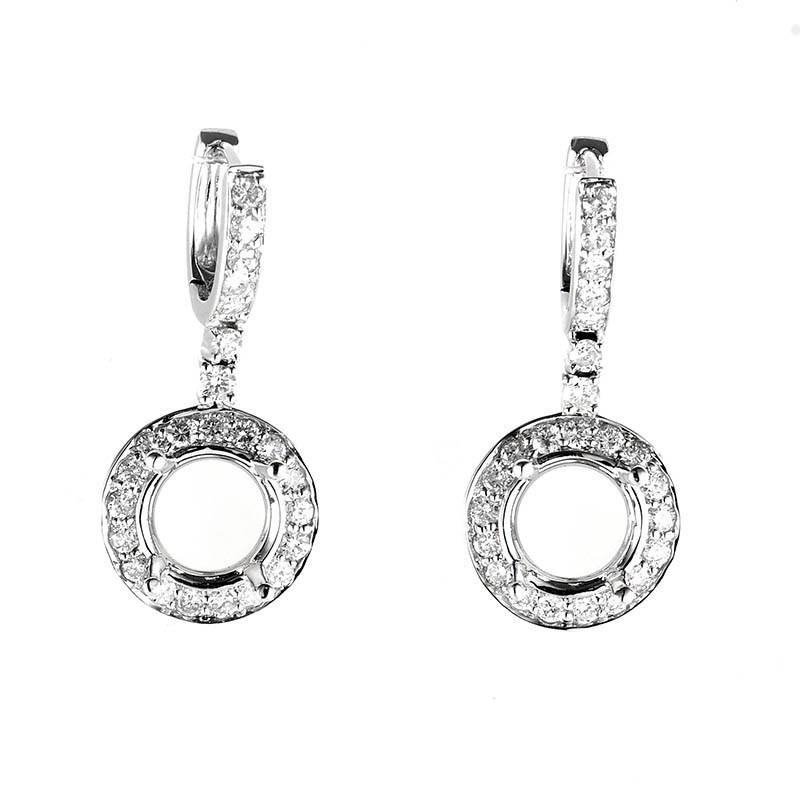 18K White Gold Diamond Drop Mounting Earrings SE02441RBZ