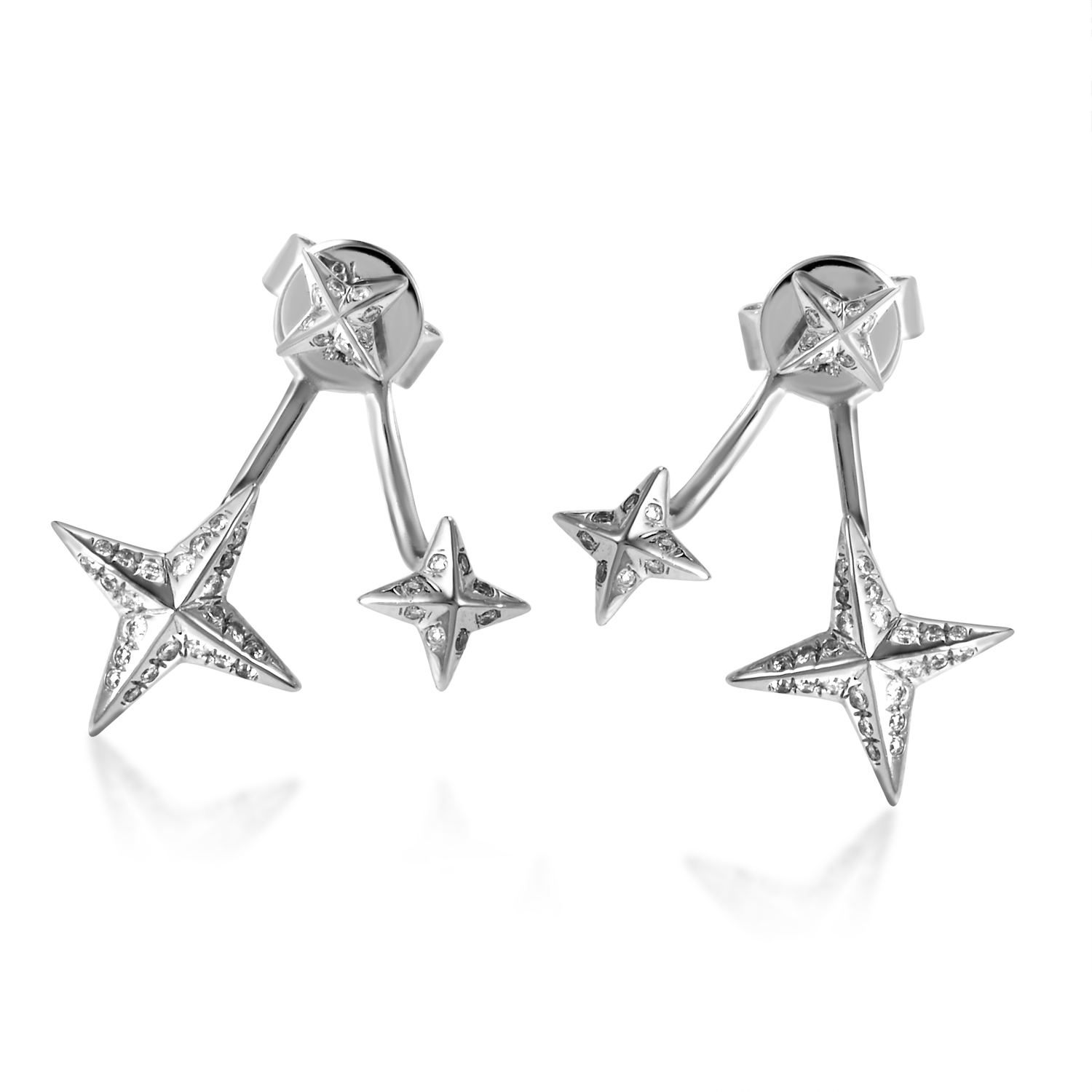 18K White Gold Double Star Diamond Earrings SE02881EFBZ
