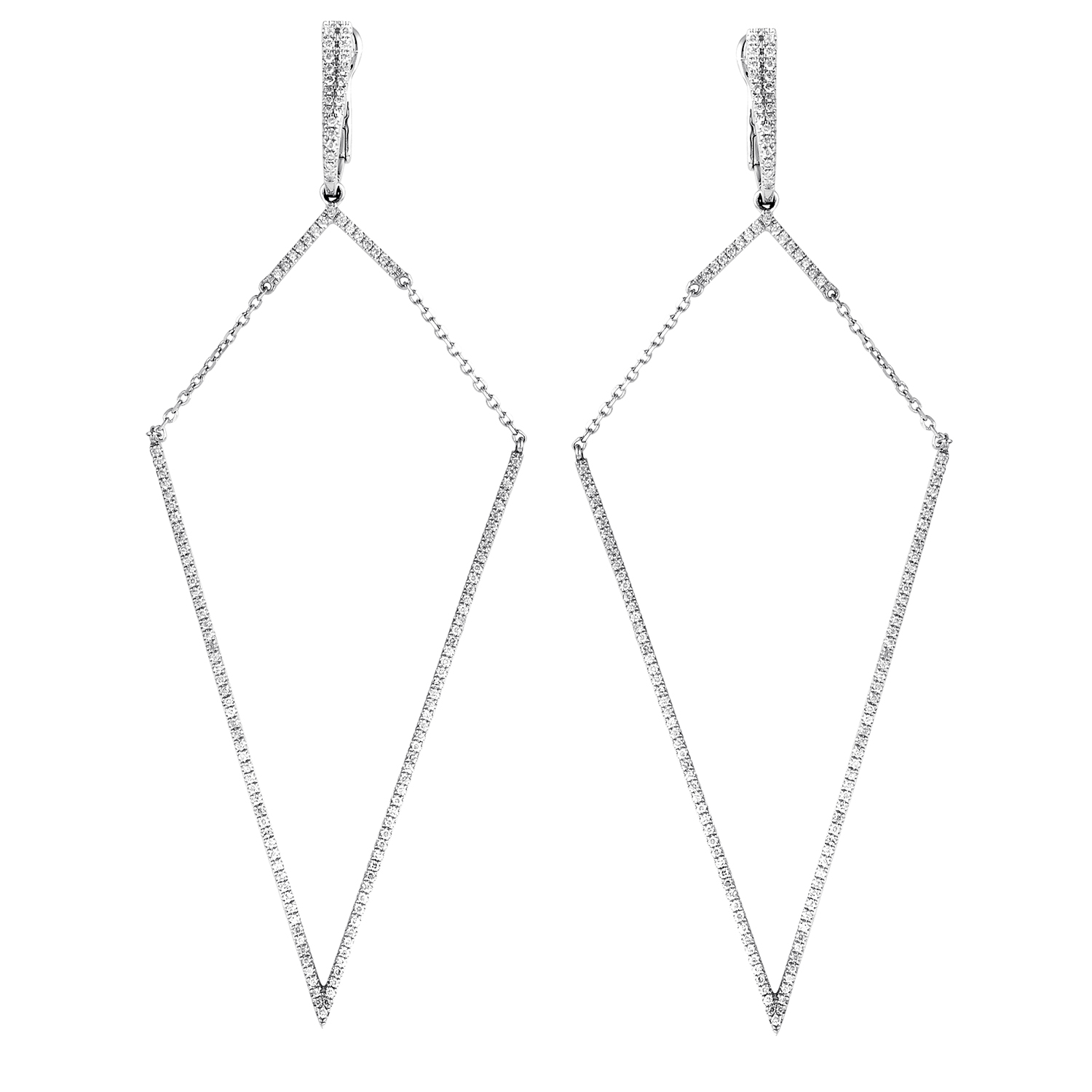 Women's 18K White Gold Diamond Pave Dangle Earrings SE06191EFBZ