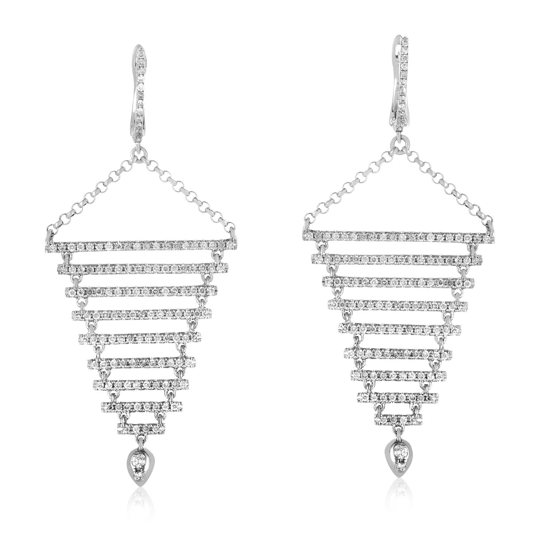 18K White Gold Diamond Dangle Earrings SE15951RBZ