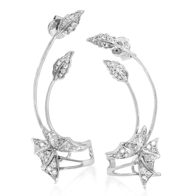 18K White Gold Diamond Pave Butterfly Ear Clips SE19731EDBZ