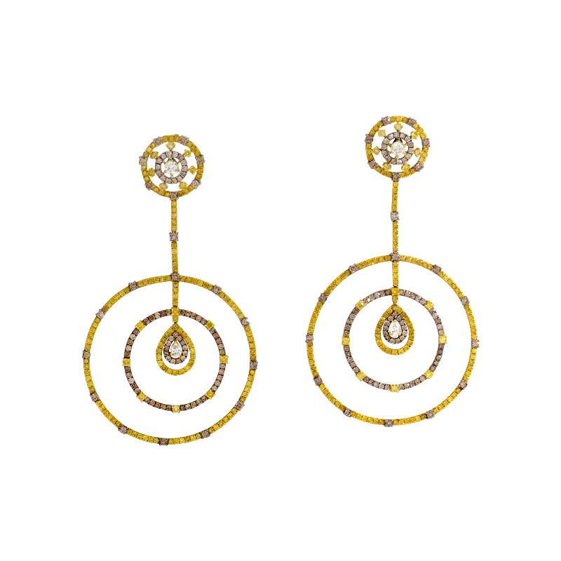 18K Yellow Gold Multi-Diamond Drop Earrings SE1-2992ELZZ