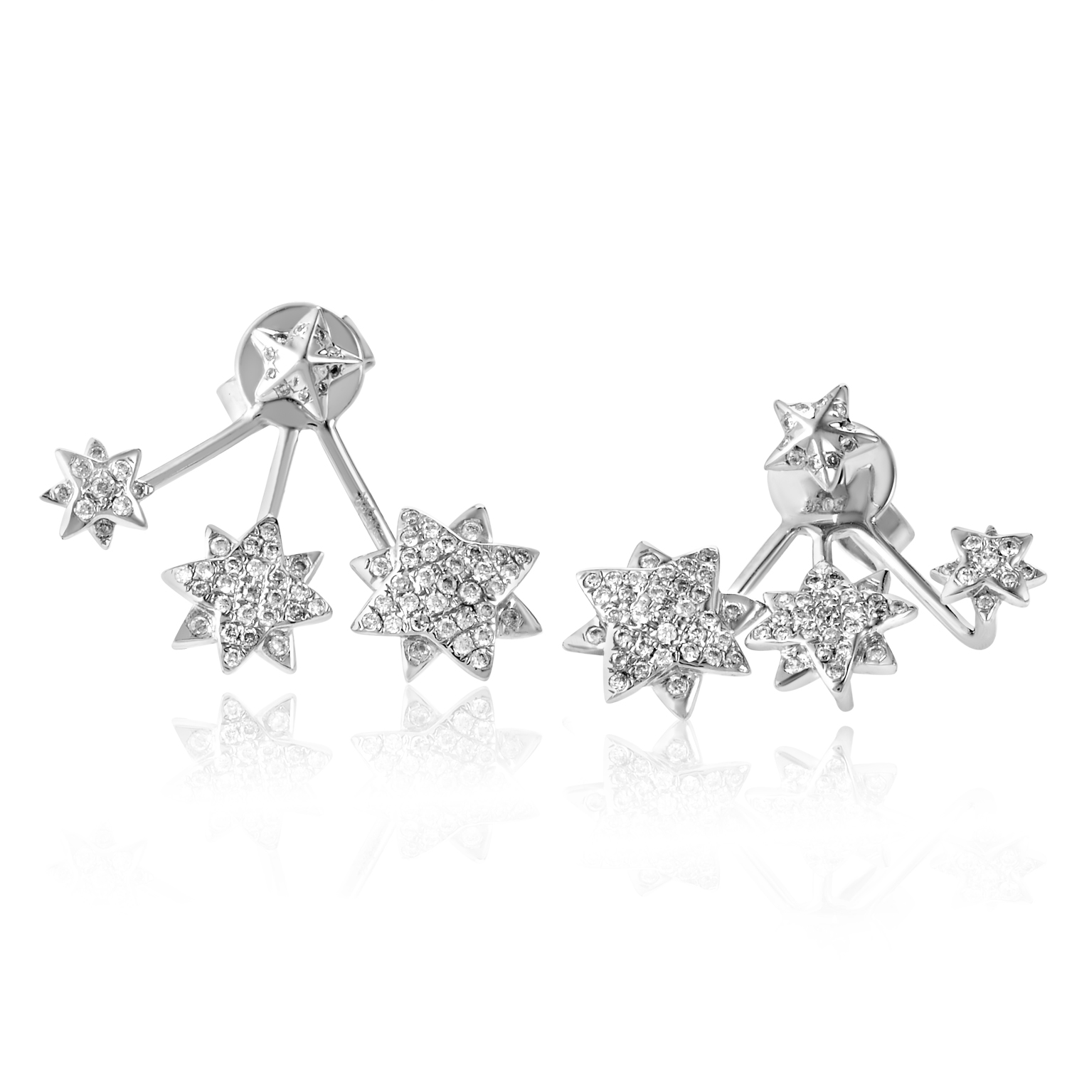18K White Gold Triple Star Diamond Earrings SE25881EFBZ