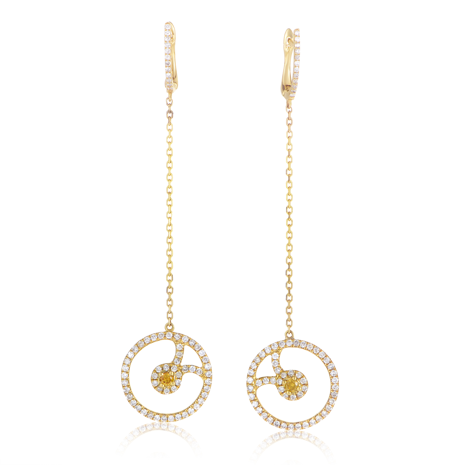 18K Yellow Gold Multi-Diamond Drop Earrings SE25951RZZ