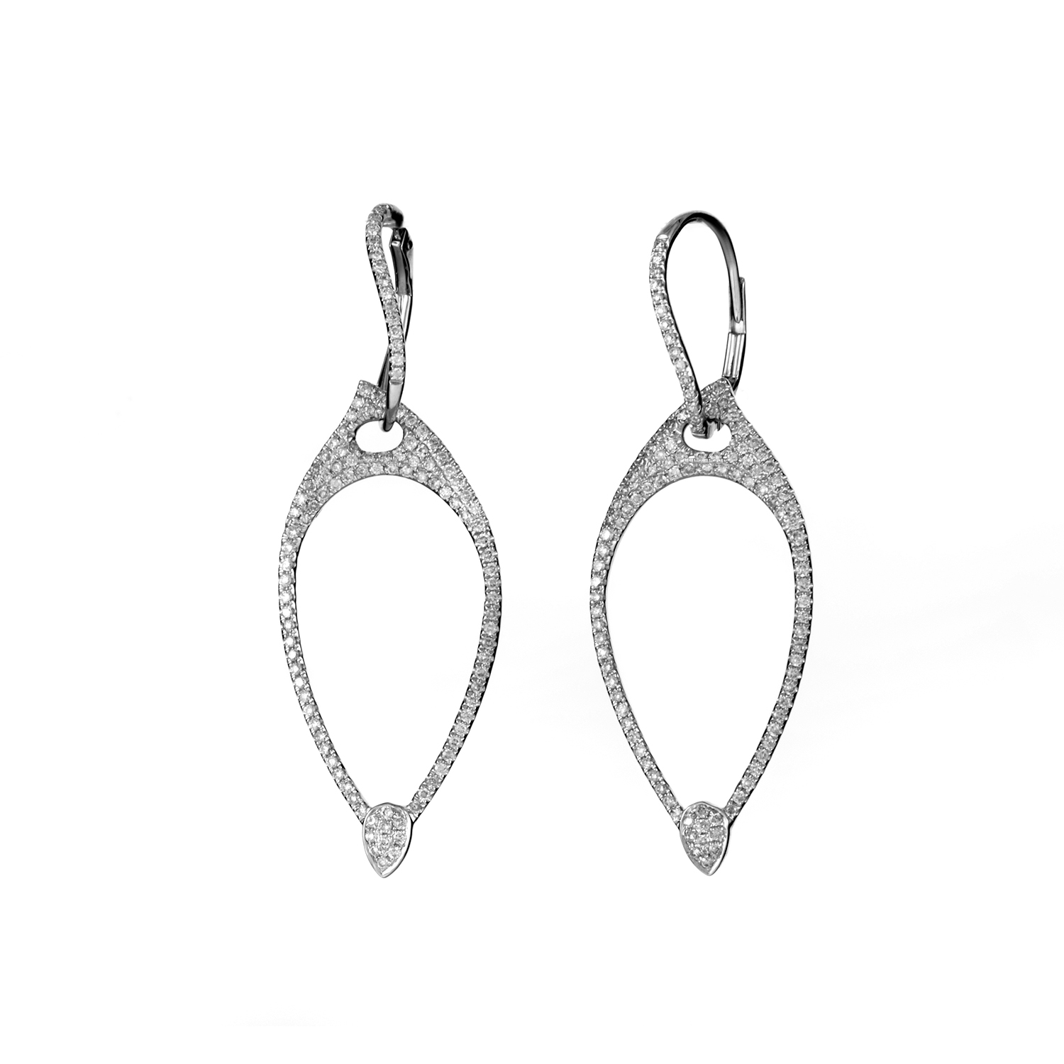 Women's 18K White Gold Diamond Dangle Earrings SE26061RBZ