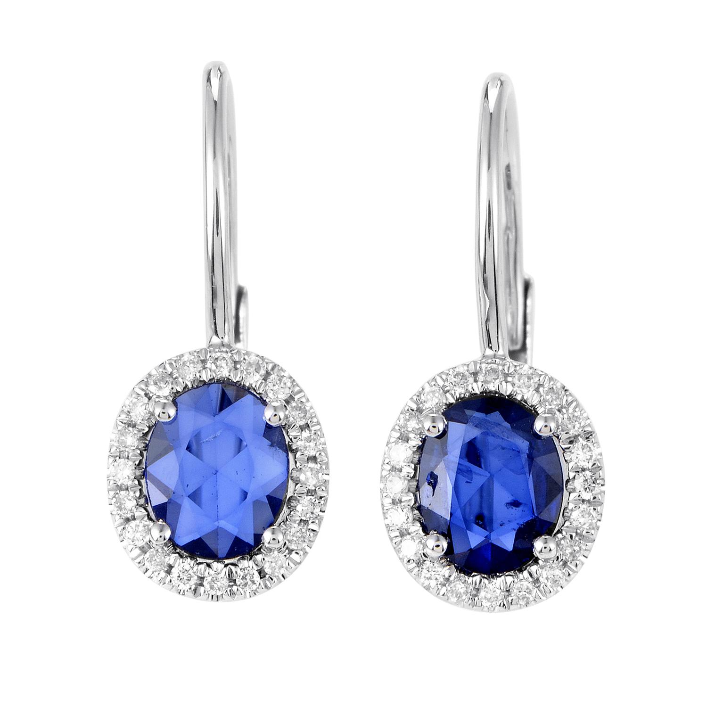 Women's 18K White Gold Diamond & Sapphire Dangle Earrings SE26841RBZSA