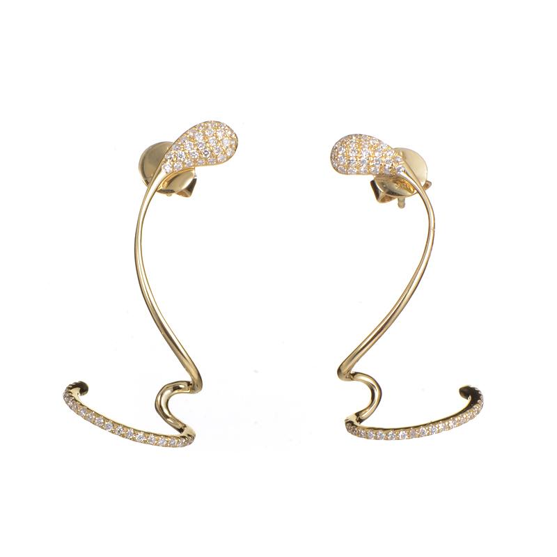 Twisted 18K Yellow Gold Diamond Earrings SE28981EFZZ