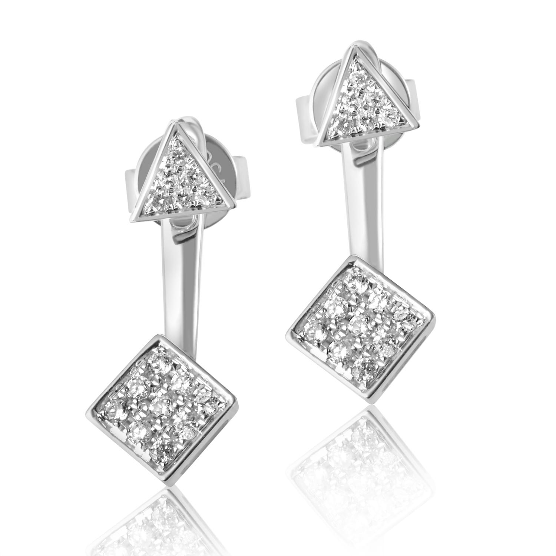 18K White Gold Diamond Pave Dangle Earrings SE30261RBZ