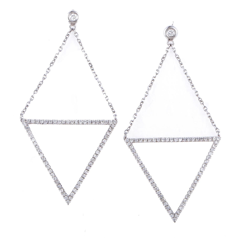 Women's 18K White Gold Diamond Pave Dangle Earrings SE35781EFBZ