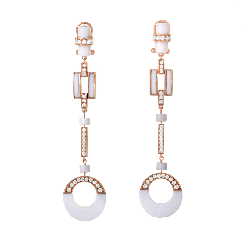 18K Rose Gold White Agate & Diamond Drop Earrings SE37951RRZ