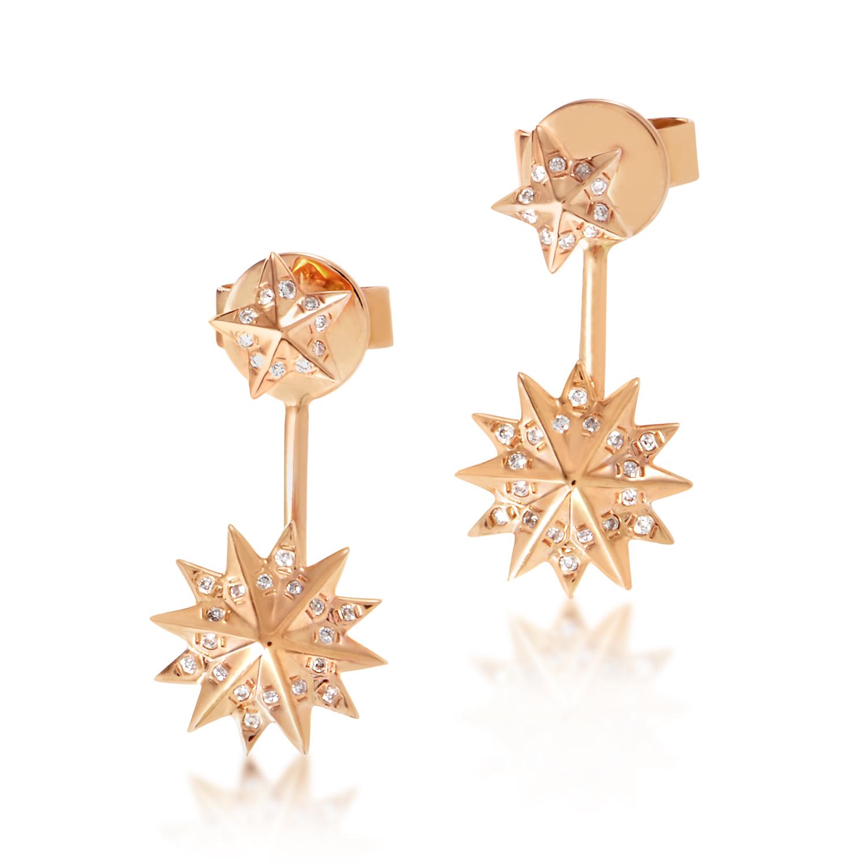 18K Rose Gold Star Drop Diamond Earrings SE45881EFRZ