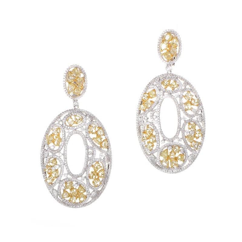 Fabulous 18K White & Yellow Gold Diamond Drop Earrings