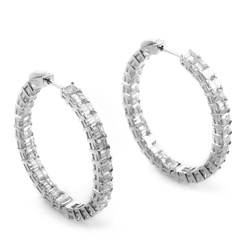 Platinum & Diamond Hoop Earrings SE6373ETPL