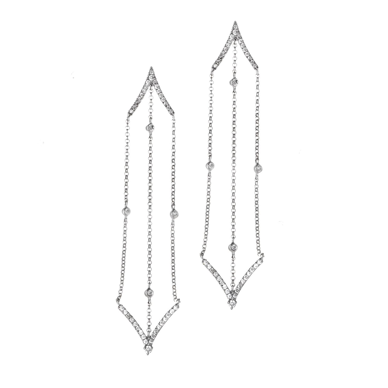 18K White Gold Diamond Hanging Earrings SE79958EBZ