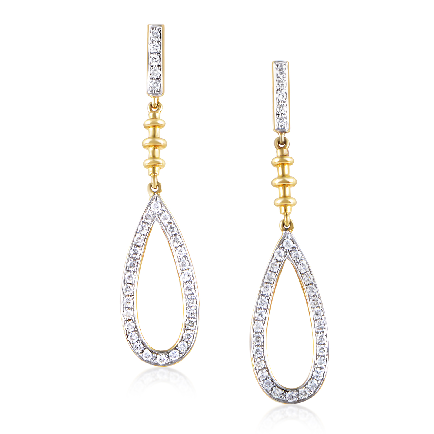 18K Yellow Gold Diamond Dangle Earrings SE86941REZZ