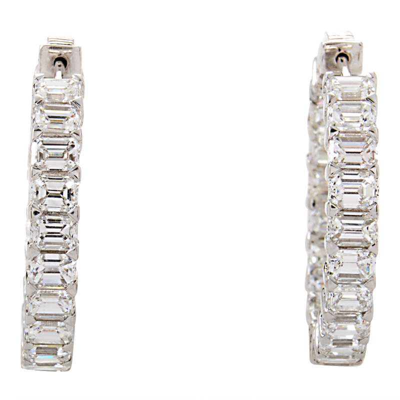 Platinum Emerald-Cut Diamond Hoop Earrings SE9273ETPL