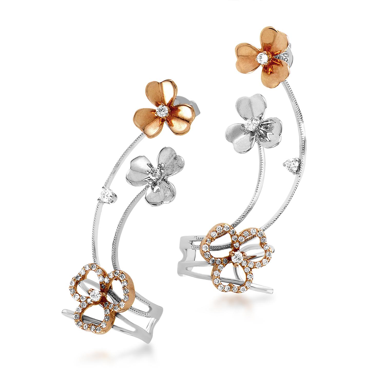 18K White & Rose Gold Triple Bloom Diamond Ear Cuffs SE97731EDBZRZ