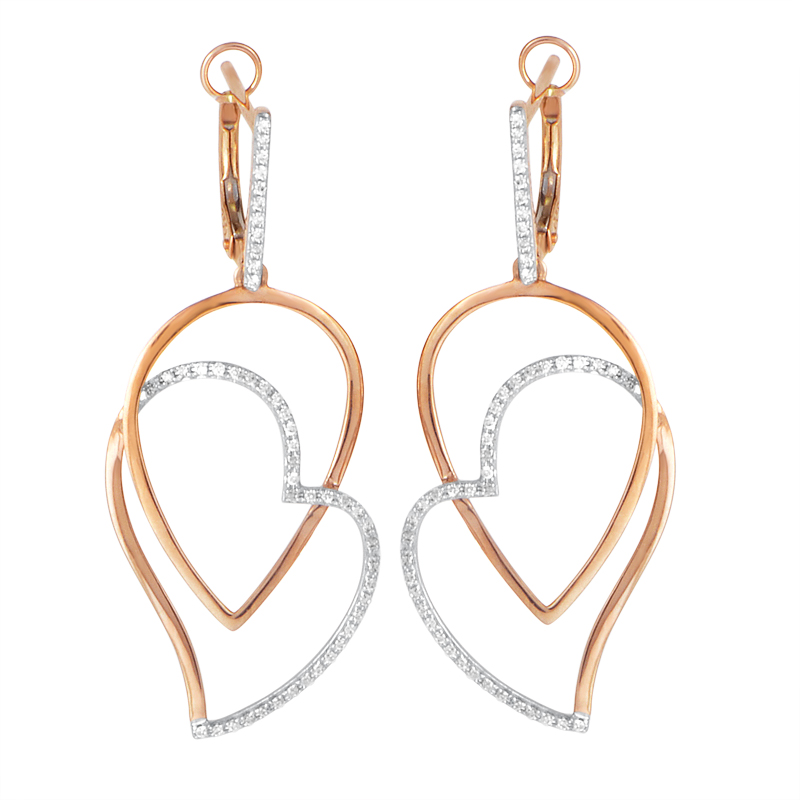 18K Rose Gold Openwork Diamond Heart Dangle Earrings