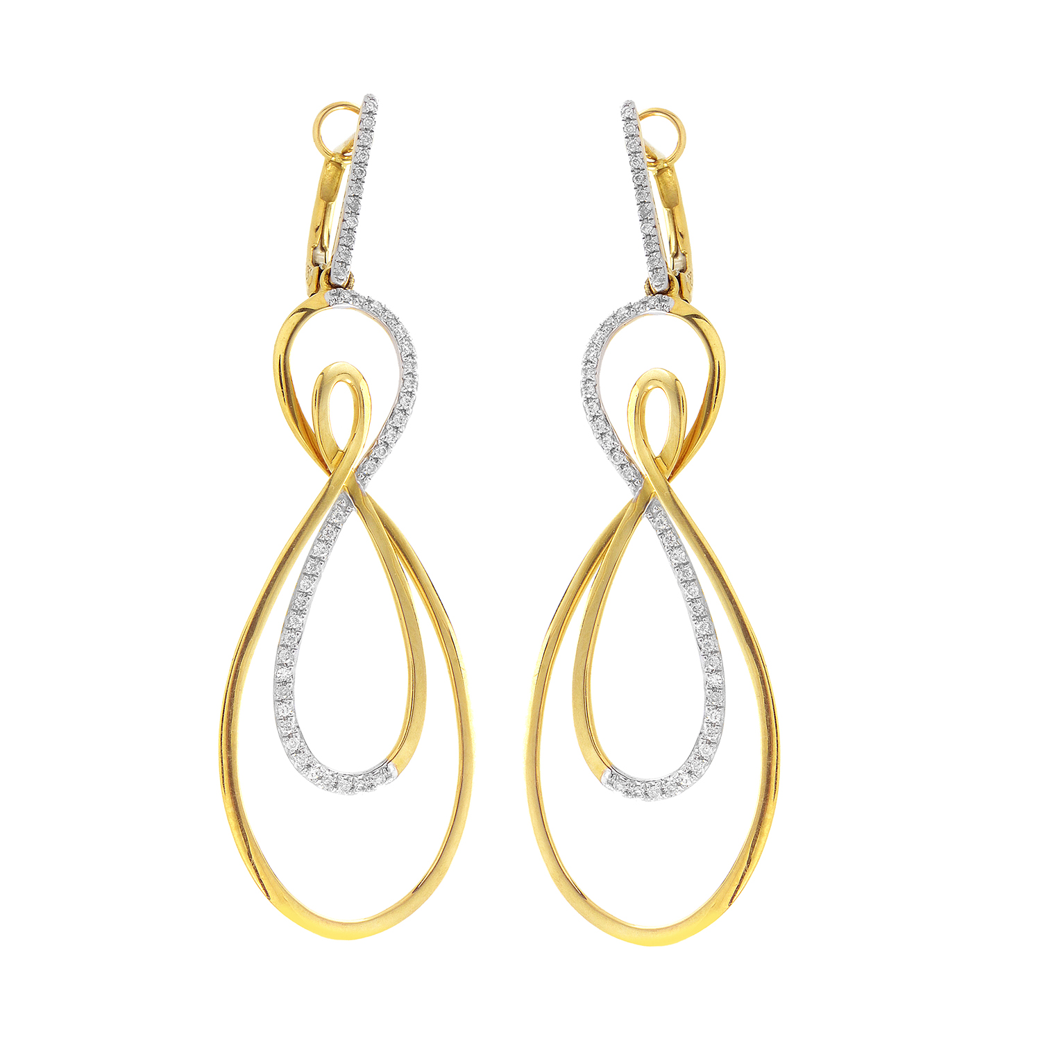 18K Yellow Gold Diamond Loop Earrings SEA67964EZZ