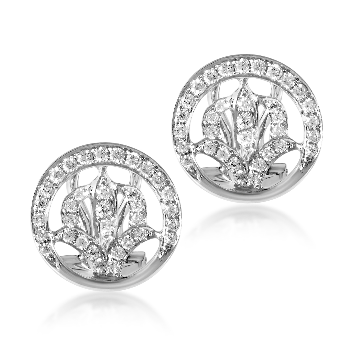 18K White Gold Filigree Diamond Earrings SEA98411RBZ