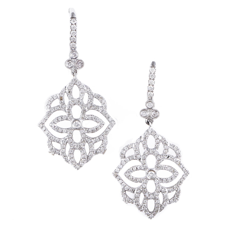 Women's 18K White Gold Diamond Pave Flower Dangle Earrings SEE195ABBZ