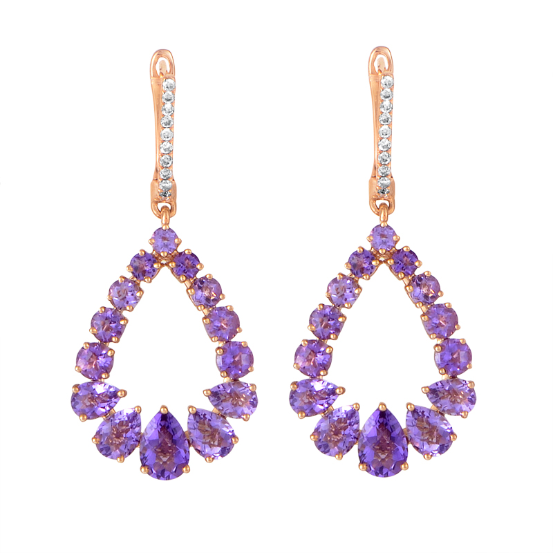 18K Rose Gold Amethyst & Diamond Dangle Earrings SEE5487PMAMRZ
