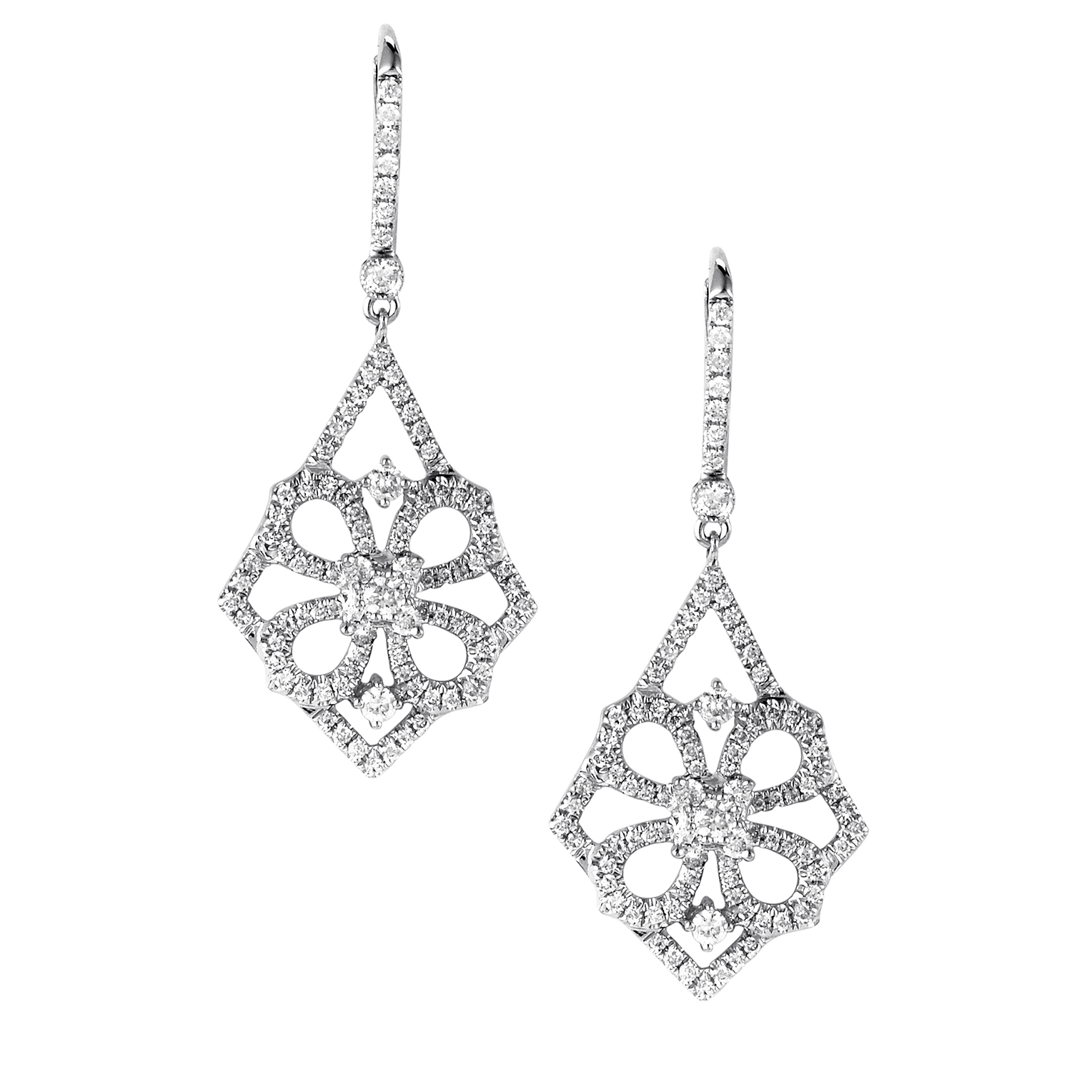 Women's 18K White Gold Diamond Pave Flower Dangle Earrings SEE575ABBZ