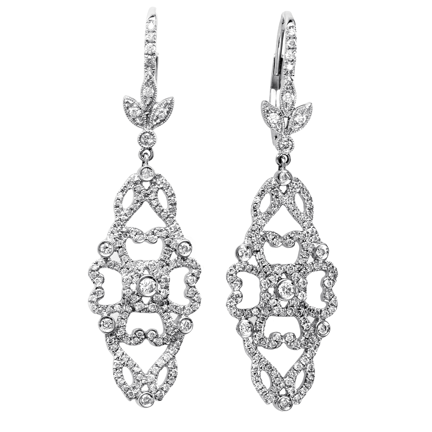 Women's 18K White Gold Diamond Pave Floral Dangle Earrings SEE886ABBZ