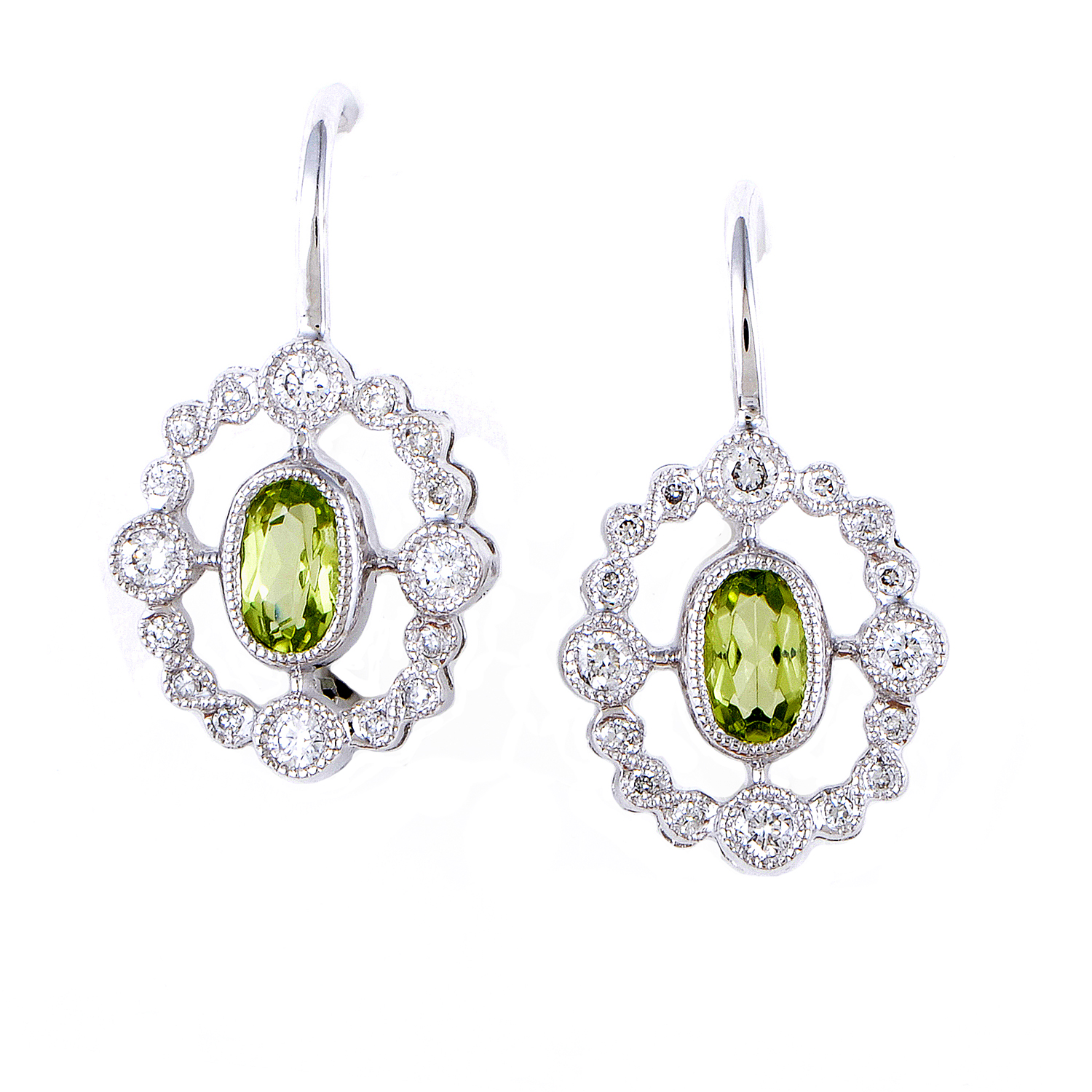Women's 18K White Gold Diamond & Peridot Dangle Earrings SEEP3098RBZPE