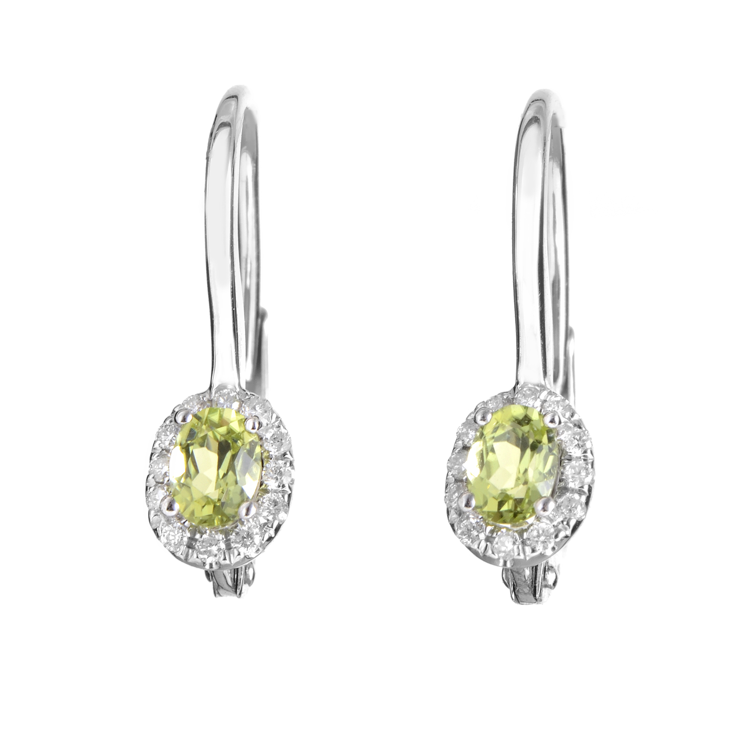 Women's 18K White Gold Diamond & Peridot Earrings SEEP70741RBZPE