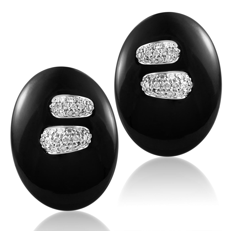 Women's 18K White Gold Diamond & Onyx Button Earrings SEGA84321RBZ