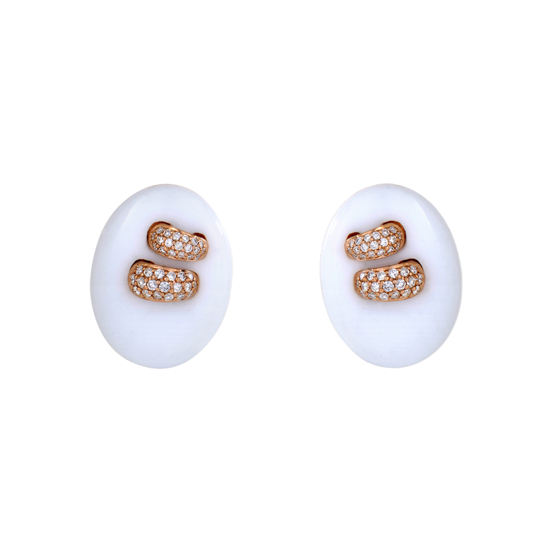 18K Rose Gold White Onyx & Diamond Button Earrings SEGA84321RRZ