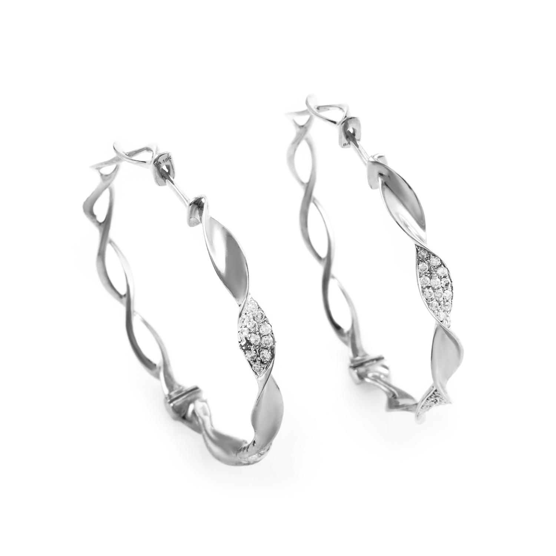 18K White Gold Diamond Hoop Earrings SEM78941REBZ