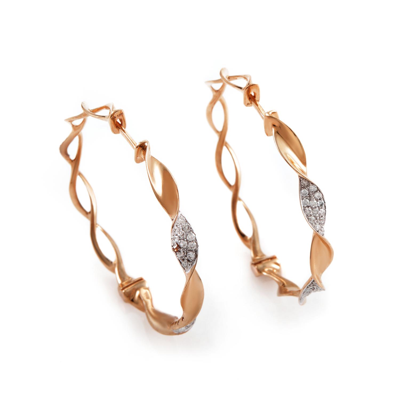 18K Rose Gold Diamond Hoop Earrings SEM78941RERZ