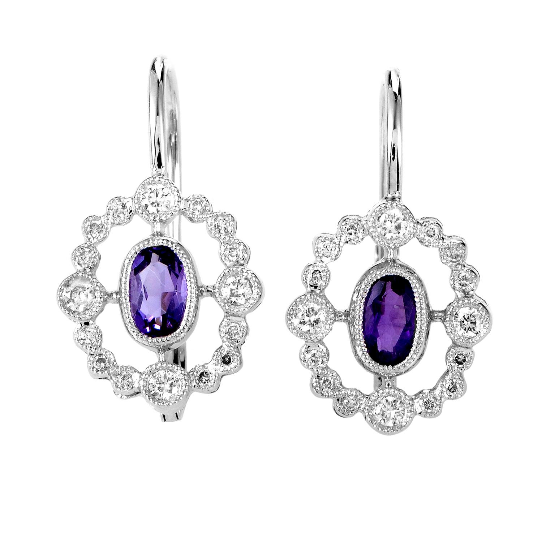 Women's 18K White Gold Diamond & Amethyst Dangle Earrings SEMA3098RBZAM