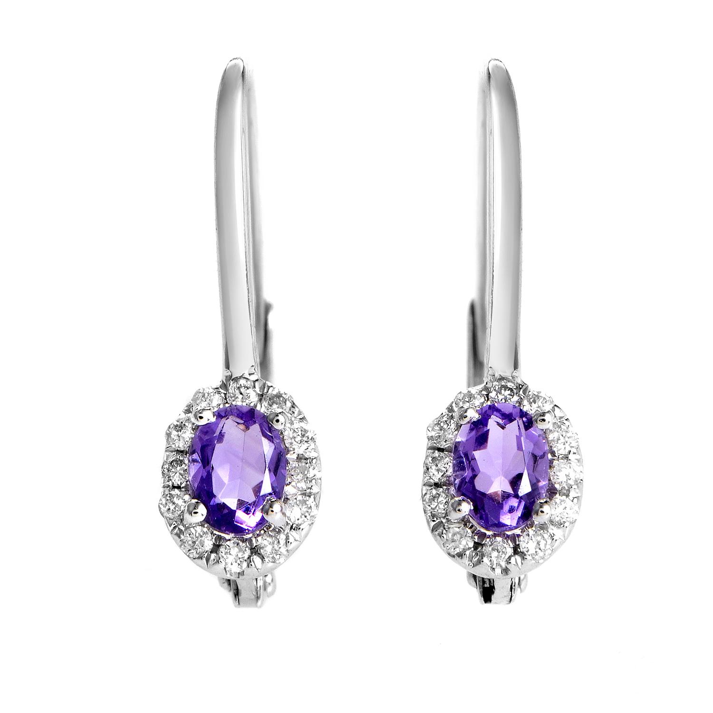Women's 18K White Gold Diamond & Amethyst Earrings SEMA70741RBZAM